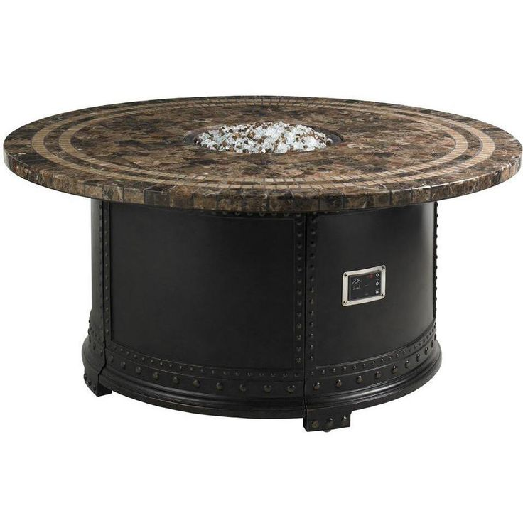 Tommy Bahama propane fire pit table has a marble top, a remote control, and is great for entertaining or relaxing.