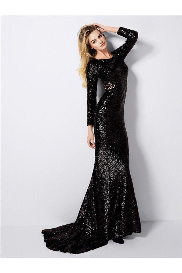 Sheath High Neck Sheer Back Long Sleeve Black Sequin Evening Prom ...