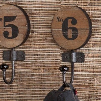 Industrial Numbered Wall Hooks - Set of 6, Wood.Black