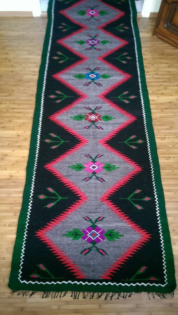 Antique hand woven romanian rug by rovintageshop on Etsy