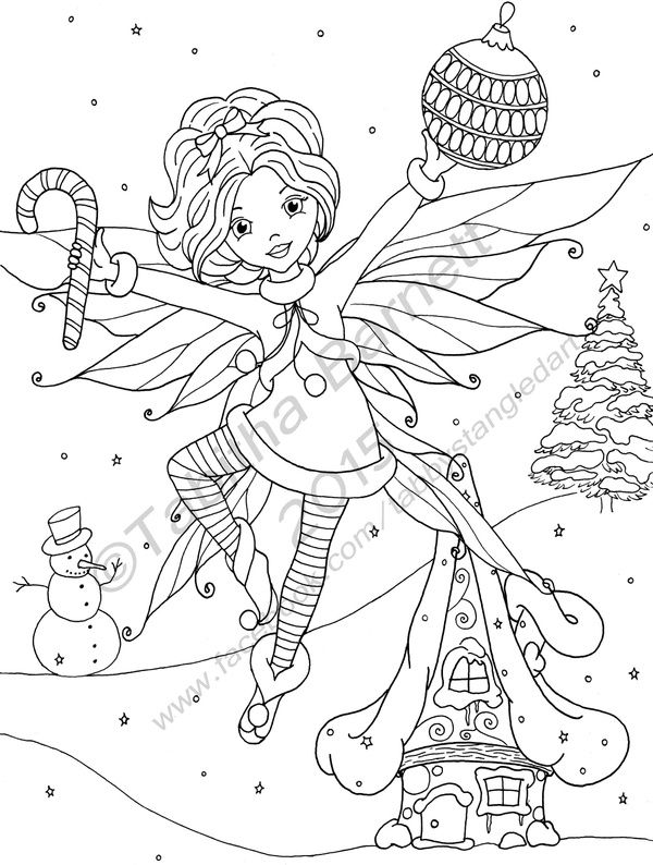 Merry Fairy Christmas | Fairy coloring pages, Fairy ...