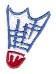 Stitchitize Embroidery Design: Badminton Birdie 2.19 inches H x 1.60 inches W