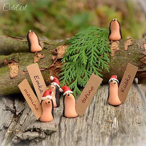 CuteArt / Vianoční ježkovia - menovky pre vašich hostí