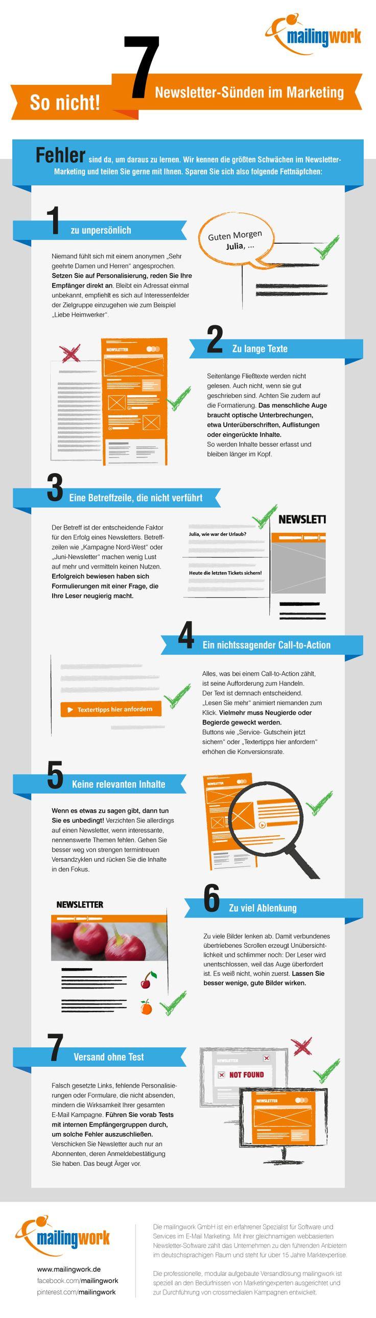 7 beliebte Fehler beim Newsletter verschicken. #emailmarketing