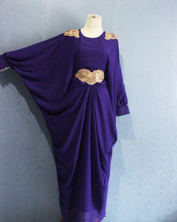 Superbe Blanc Afantee Kaftan Maxi robe avec doublure souple en mousseline de soie Plus Size robe de maternité Caftan, Robes longues