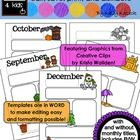 Programmable and editable Monthly Newsletter Templates Featuring Graphics from Creative Clips by Krista Wallden!!!  This ZIP file contains 90 Micro...