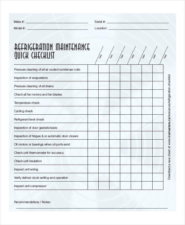 Equipment Maintenance Checklist Templates 15 Free Docs Xlsx Pdf Checklist Template Maintenance Checklist Checklist