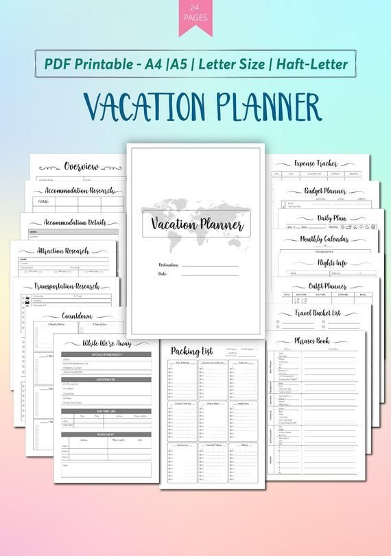 Vacation Planner Printable Template Travel Planner Printable Insert Travel Itinerary Tra Travel Itinerary Template Vacation Planner Template Vacation Planner