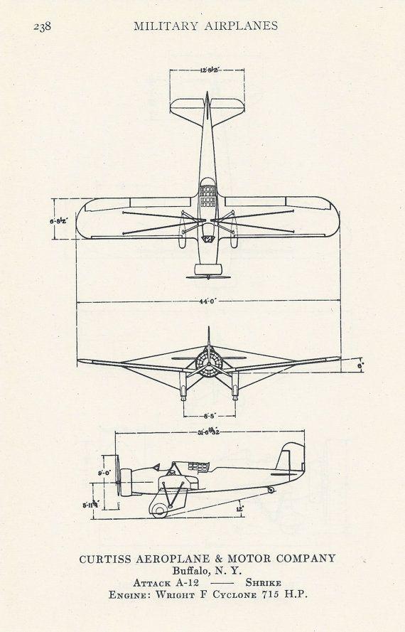 Vintage vliegtuig Print luchtvaart Diagram door VintageButtercup