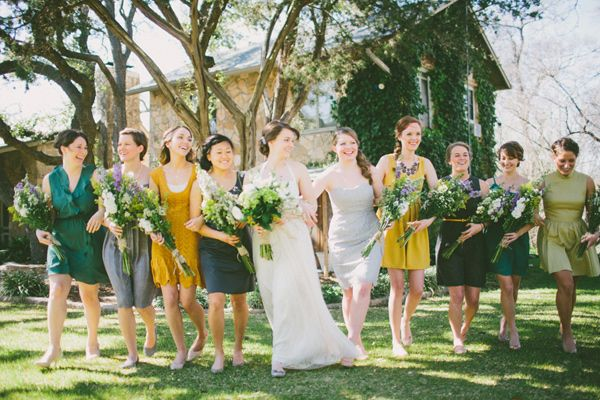 love these colors for Fall! Bridesmaid dresses in teal, olive and mustard // photo by Ryan Price // view more: http://ruffledblog.com/west-texas-rustic-chic-wedding