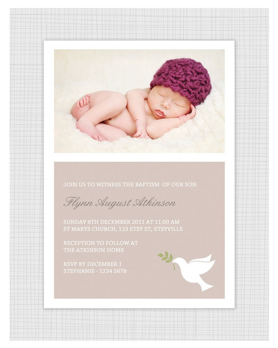 Photo Christening/baptism Invitations. Boy or Girl dove design. I Customize, You Print.. $15.99, via Etsy.