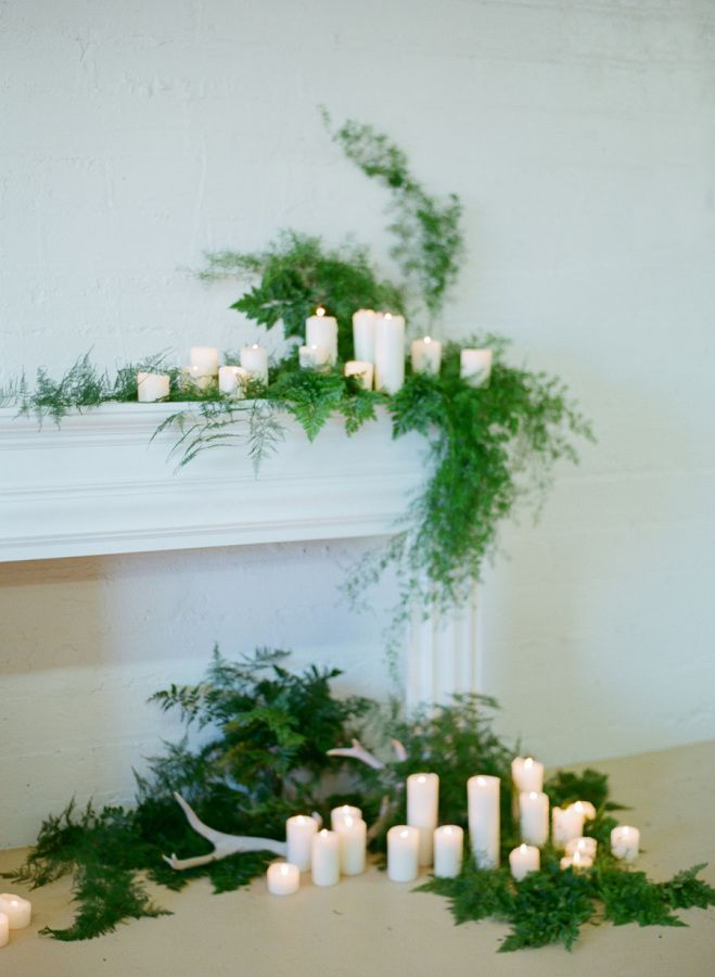 candle covered winter wedding