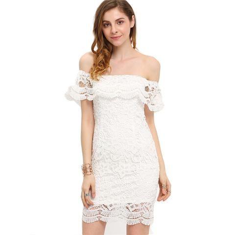 Off-Shoulder Lace Short Wedding Dress :: Budget Collection