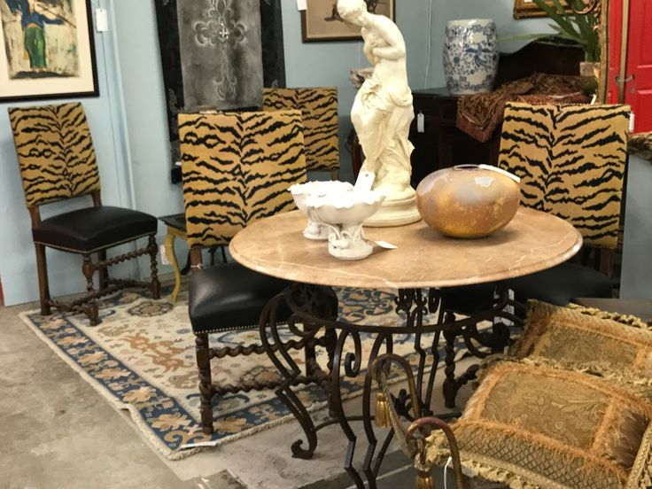 Set of Four Barley Twist Chairs On Sale   4 Tiger Print Upholstery Chairs  Were $899 Sale Price $395  My Treasured Antiques Dealer #2612  White Elephant Antiques, Dallas 1026 N. Riverfront Blvd. Dallas, TX 75207