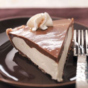Makeover Chocolate Eggnog Pie Recipe from Taste of Home -- It boasts all the classic flavor but half the fat and a third fewer calories. —Beth McCreedy, Lapeer, Michigan