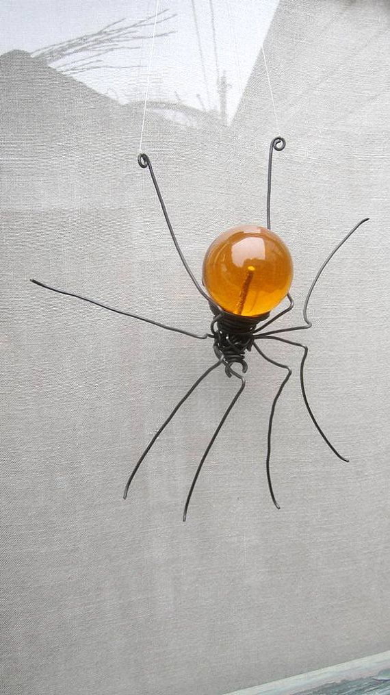 Orange Sun Catcher Window Spider Hanging Art Made by thedustyraven, $25.00