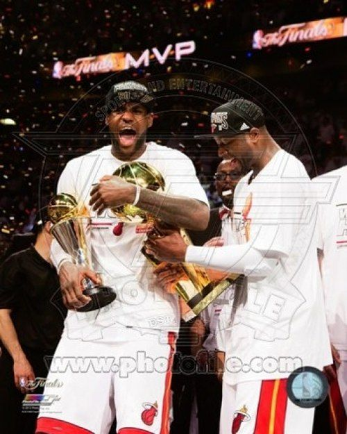 LeBron James & Dwyane Wade Celebrate after Game 7 of the 2013 NBA Finals