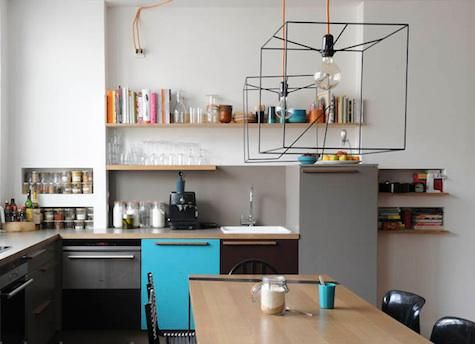 Lampshade metal frame in form of cube: Open Shelves, Kitchens Design, Lights Fixtures, Books Shelves, Lights Shades, Awesome Kitchens, Kitchens Lights, Cool Lamps, Kitchens Cupboards