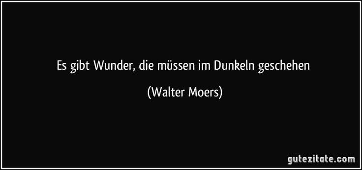 Es gibt Wunder, die müssen im Dunkeln geschehen (Walter Moers)