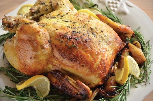 Lemon Chicken w/ Rosemary - Fresh lemon and rosemary complement the richly roasted flavor of the chicken, made moist and tender using this foolproof cooking method.