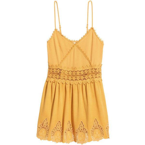 H&M Sleeveless dress featuring polyvore, fashion, clothing, dresses, yellow, mustard yellow, yellow lace dress, circle skirt, yellow mini dress, short lace dress and yellow dress