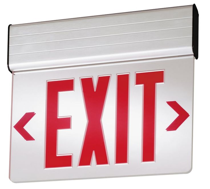 "Lithonia Lighting EDG 1 R EL M6 13"" LED Lighted Exit Sign Clear Commercial Lighting Emergency Lights Exit Signs"