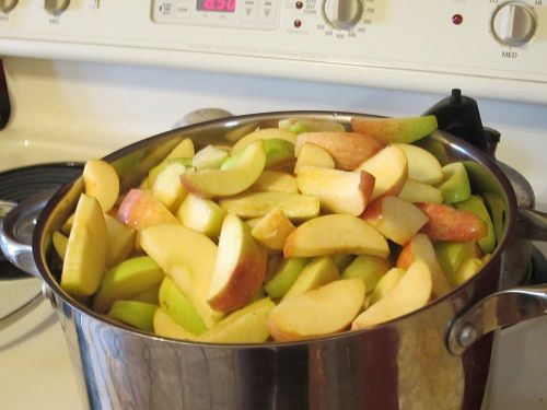 Easy applesauce - leave the peels on, they disappear...and they add fiber :D