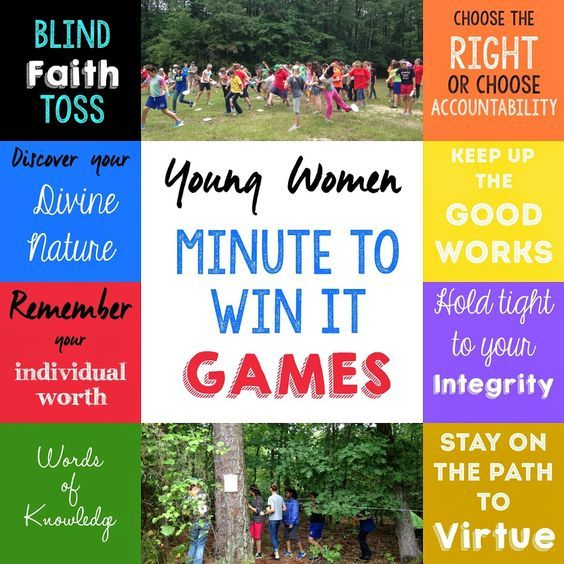 Such fun ideas for a young women's activity, minute to win it games based on the YW values from playpartypin.com
