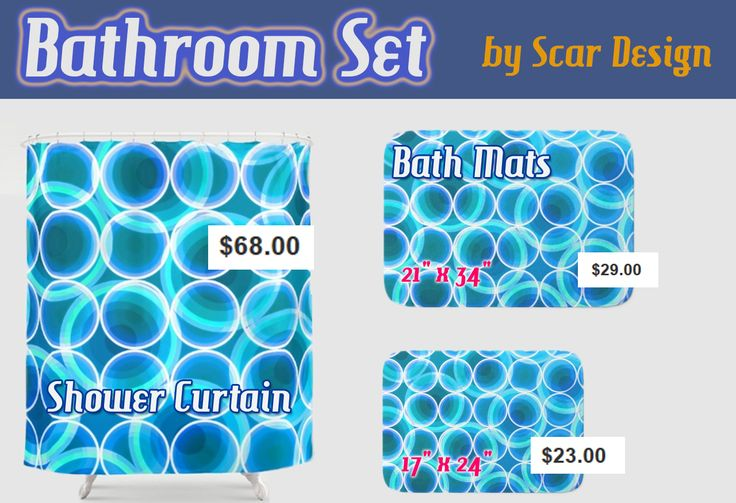 Oceanic Modern Bathroom Set  with Shower Curtain and bath mat by Scar Design. #bathroom #bathset #bathroomdecor #bath #showercurtain #bathmat #bathroommat #homedecor #homegifts #gifts