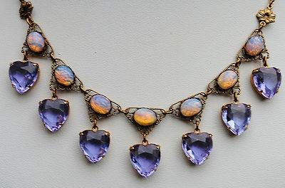 Art Deco Czech Glass Alexandrite Heart, Pink Glass Fire Opal Necklace