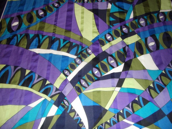 1980 vintage scarf made in Italy purple navy green by CHEZELVIRE, $9.00