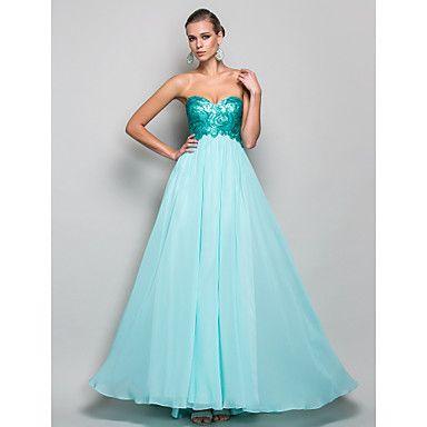 Palabra de longitud vestido de noche de gasa y lentejuelas cariño A-line/Princess – USD $ 179.99