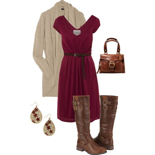 """Fall Dress"" by alicia-querry on Polyvore I like this color for bridesmaid dresses. Like a wine color."