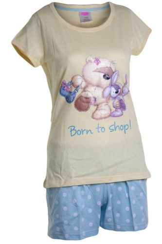 Ladies Fizzy Moon Born to Shop Printed Shortie Pyjamas Lemon Blue 10 - 20