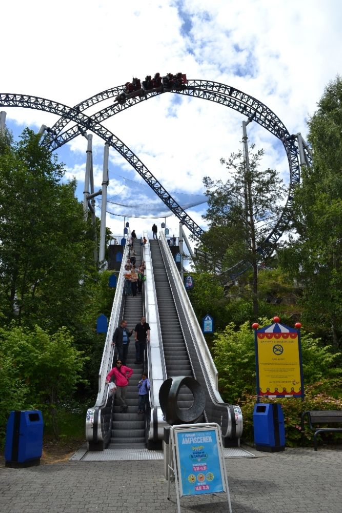 Speed Monster at Tusenfryd, Vinterbro, Norway, has a unique 'Norwegian Loop' element around an escalator at the entrance of the park - Photo by Jake Garbelotti, Theme Park Review