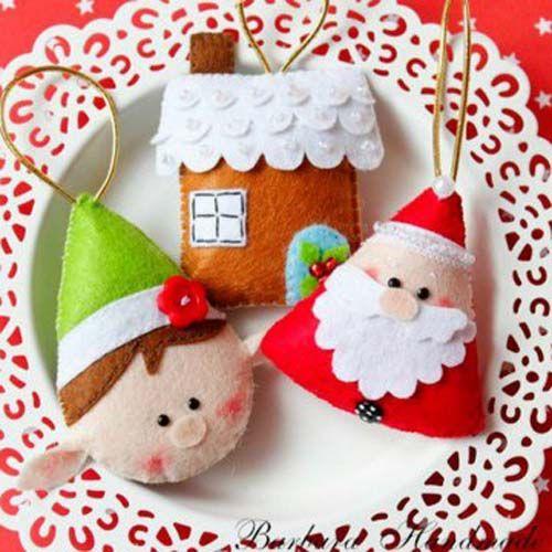 Figuras navideñas de fieltro para decorar arbol de navidad08