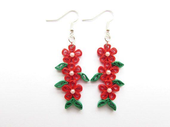 Flower Earrings, Floral Earrings, Quilled Earrings, Quilled Jewellery, Drop Earrings, Pinup Earrings, Rockabilly Earrings, Red Earrings