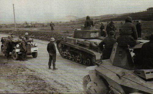 Hungarian armored force march to front. Eastern Front, 1944