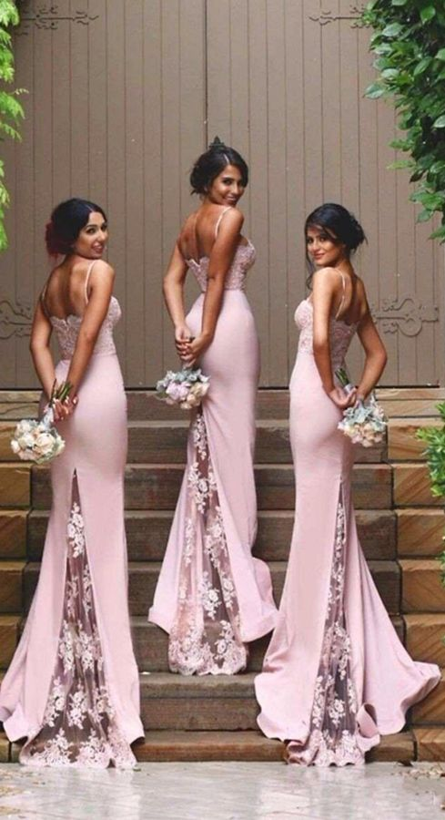 Pink Sweetheart Neckline Spaghetti Strap Lace Bridesmaid Dress With Lace  Sweep Train 4c1dfc291a37