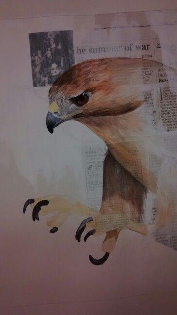 Bird art, partially finished Painted in gouache by Karolina Czerwinska