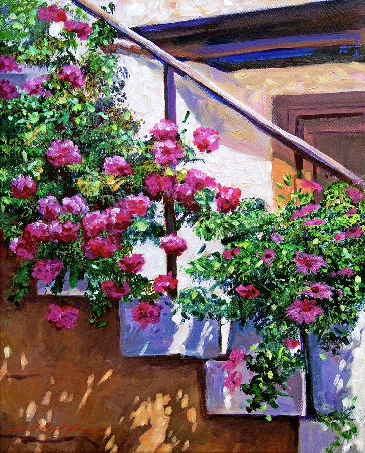Stairway Floral Plein Air David Lloyd Glover