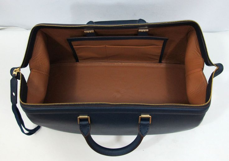 Celine Navy Blue Leather Gladstone bag