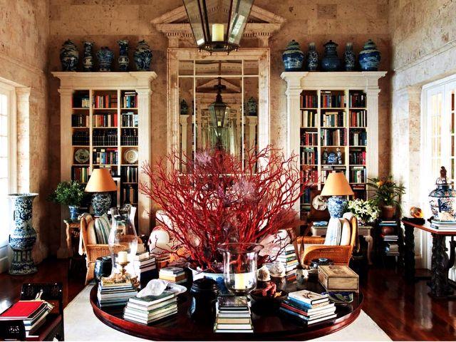 Oscar de la Renta's library at his Punta Cana beach house