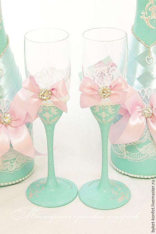 Купить Свадебное оформление бутылок и бокалов:'' в нежных персиковых тонах'' - свадьба, свадебные аксессуары, бутылки
