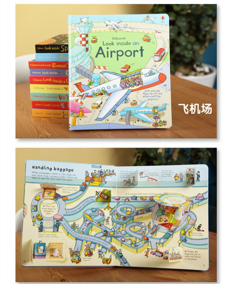English children's 3D Picture Airport books series organs looking through the Look inside kid original baby educational -in Books from Office & School Supplies on Aliexpress.com | Alibaba Group