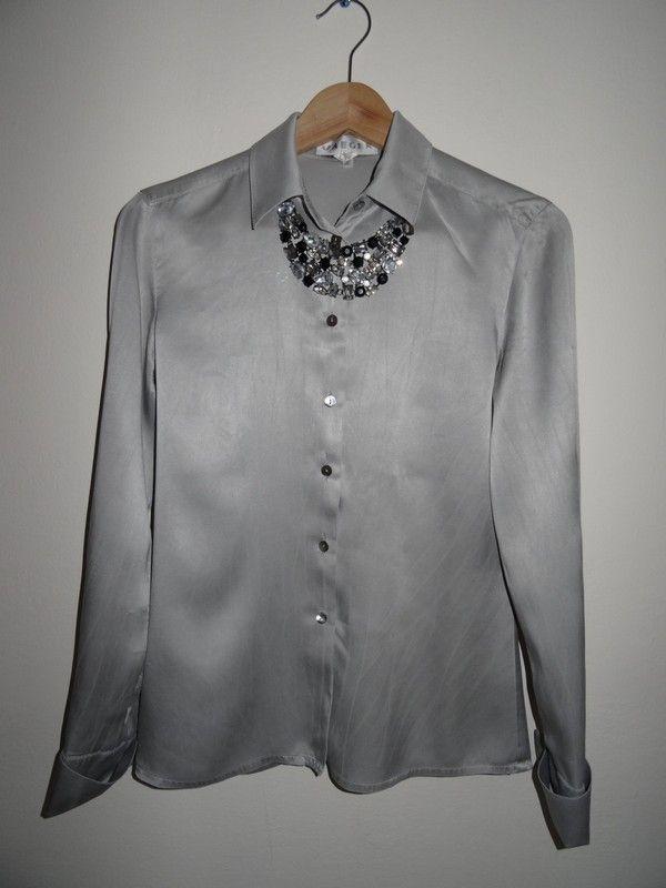 srebrna koszula, mankiety na spinki