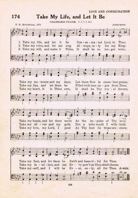 """Take My Life and Let It Be"" Antique Hymn Book Page Printable - get off the bench & be all-in for God! knickoftime.net"