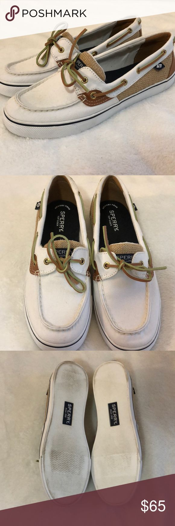 White Sperrys NWOT Never Worn Slight discoloring on bottoms - purchased that way Perfect condition Offers encouraged Runs true to size Special memory foam style No box  Thanks for your interest! Please check out my other listings! Sperry Top-Sider Shoes #MemoryFoamStyles