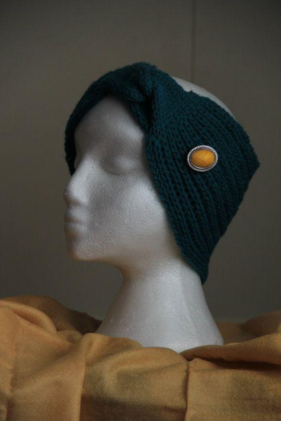 Dark Teal Headband Ear Warmer broch not included by LLCozyCorner