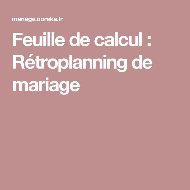 Feuille de calcul : Rétroplanning de mariage